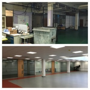 before and after 3 office partitions liverpool wirral manchester