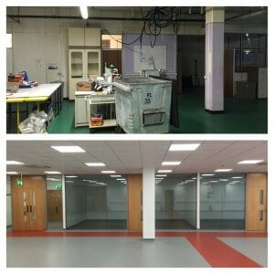 before and after 4 office partitions liverpool wirral manchester